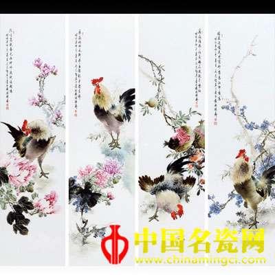 2011年作 毛光辉 火狐体育手机官网四季雄鸡图瓷板 (一套)