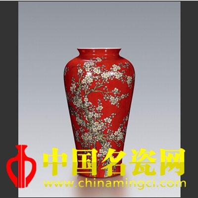 彭元清 绘红地火狐体育手机官网梅花纹瓶