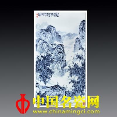 胡达民 乐在竹声里·青花瓷板