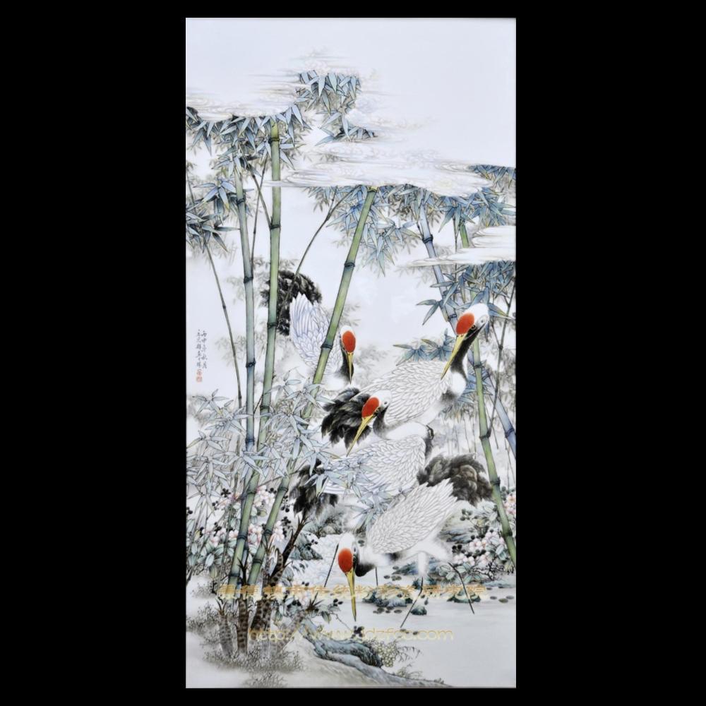 《仙鹤成群》瓷板